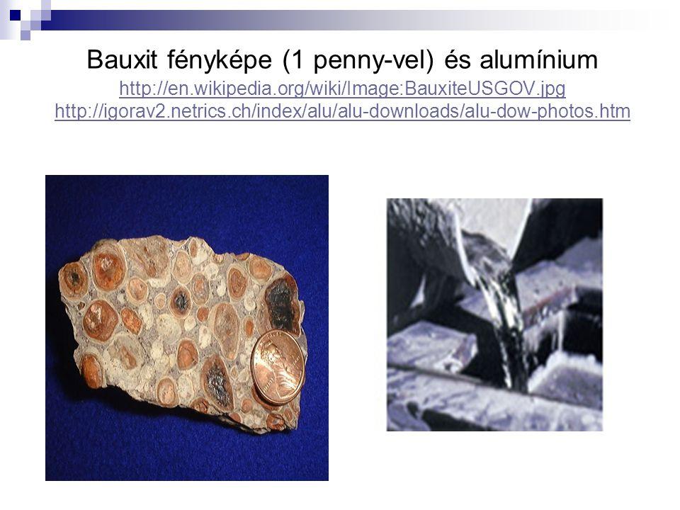 Bauxit fényképe (1 penny-vel) és alumínium http://en. wikipedia