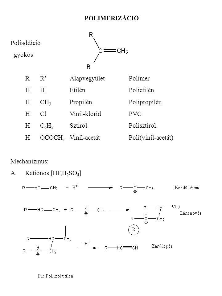 POLIMERIZÁCIÓ Poliaddició. gyökös. R R' Alapvegyület Polimer. H H Etilén Polietilén. H CH3 Propilén Polipropilén.