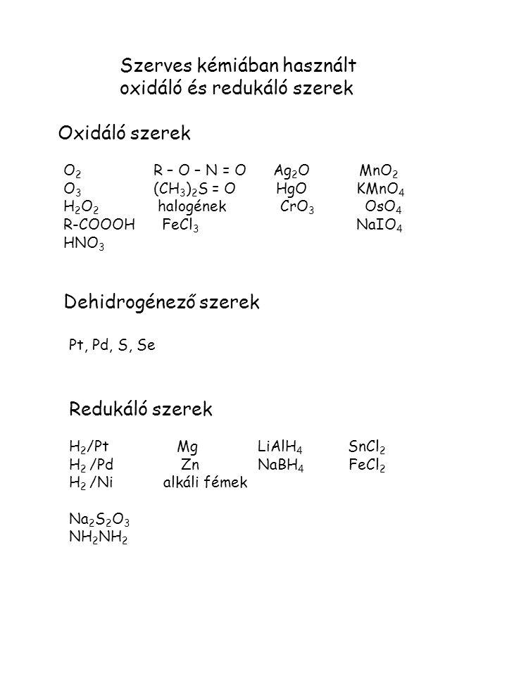 Szerves kémiában használt oxidáló és redukáló szerek