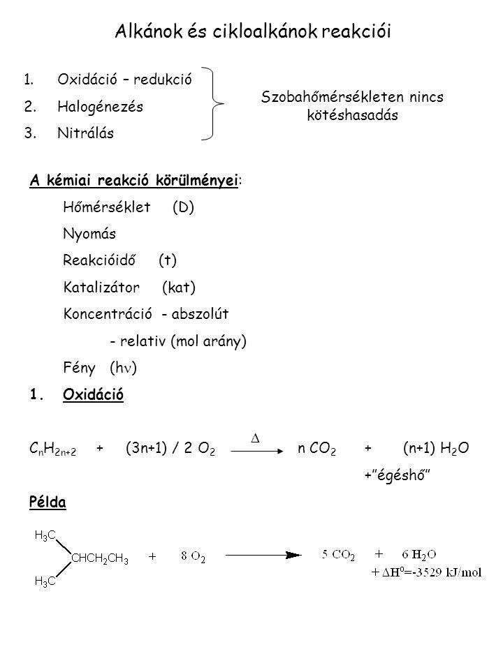 Alkánok és cikloalkánok reakciói