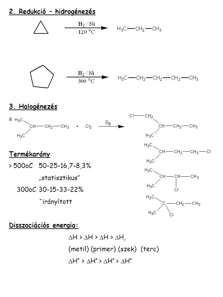 2. Redukció – hidrogénezés
