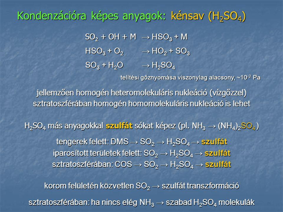 Kondenzációra képes anyagok: kénsav (H2SO4)