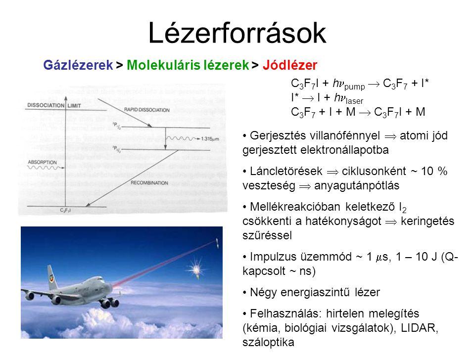 Lézerforrások Gázlézerek > Molekuláris lézerek > Jódlézer