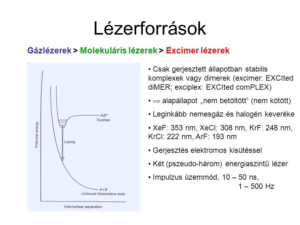 Lézerforrások Gázlézerek > Molekuláris lézerek > Excimer lézerek