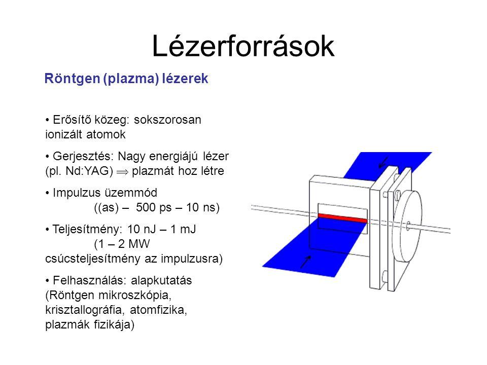 Lézerforrások Röntgen (plazma) lézerek