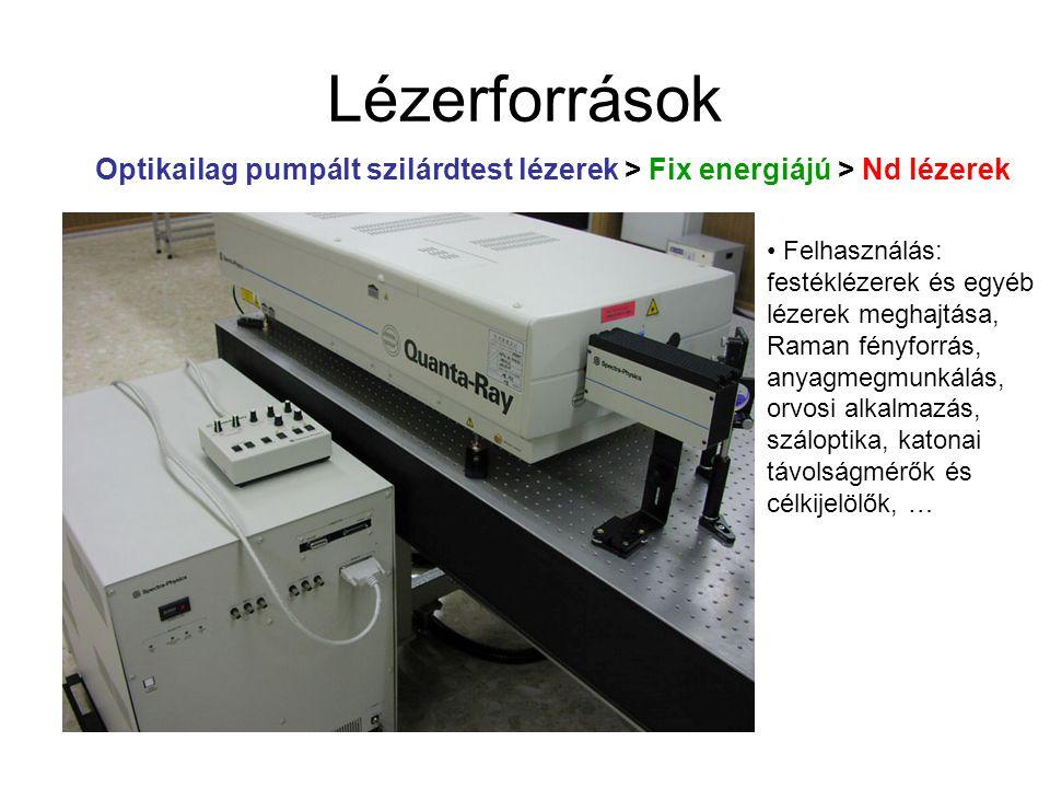 Lézerforrások Optikailag pumpált szilárdtest lézerek > Fix energiájú > Nd lézerek.