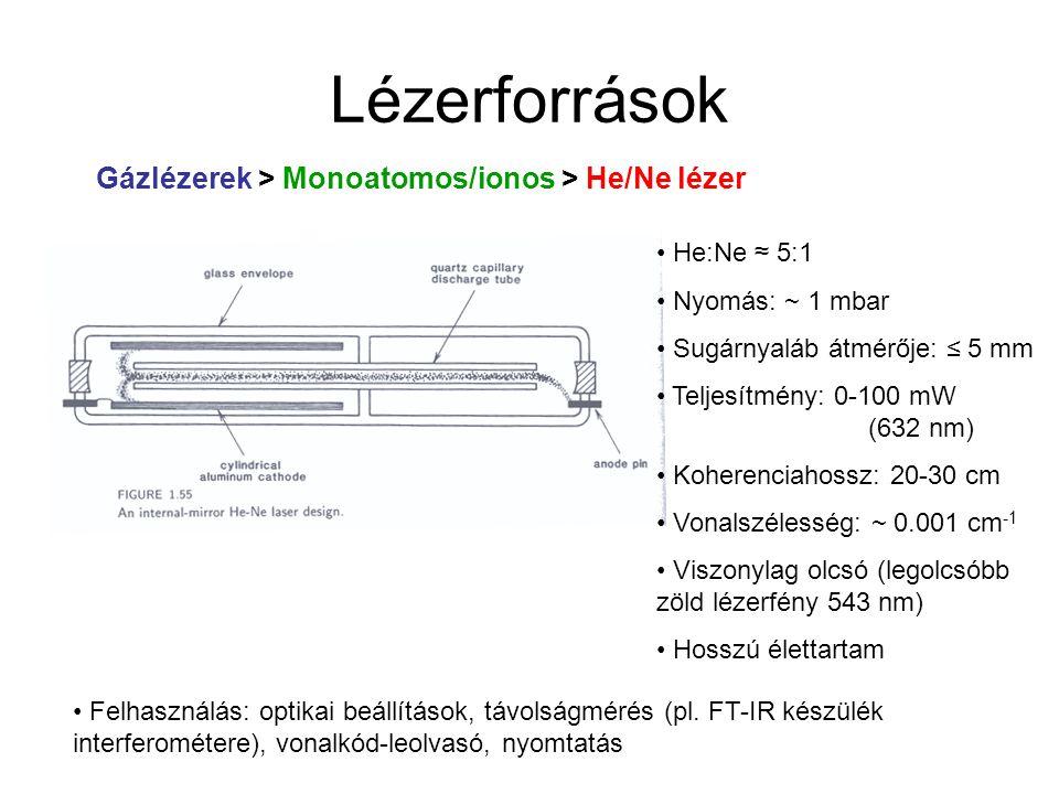 Lézerforrások Gázlézerek > Monoatomos/ionos > He/Ne lézer