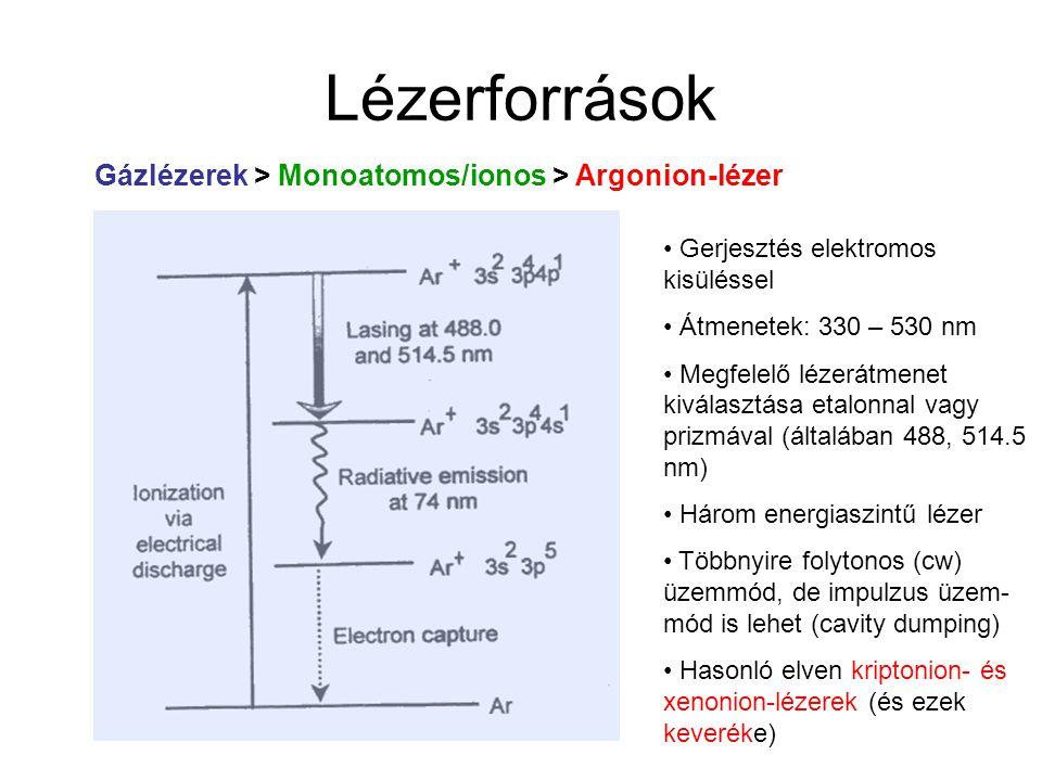 Lézerforrások Gázlézerek > Monoatomos/ionos > Argonion-lézer
