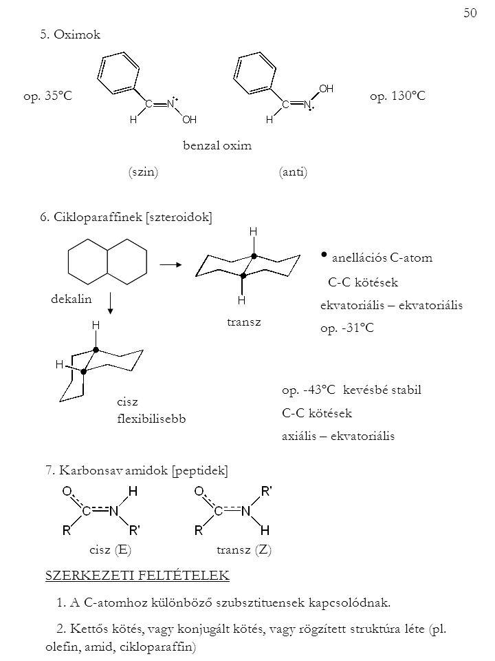 • anellációs C-atom 50 5. Oximok op. 35ºC op. 130ºC benzal oxim