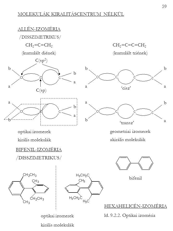 59 MOLEKULÁK KIRALITÁSCENTRUM NÉLKÜL. ALLÉN-IZOMÉRIA. /DISSZIMETRIKUS/ CH2=C=CH2 CH2=C=C=CH2.