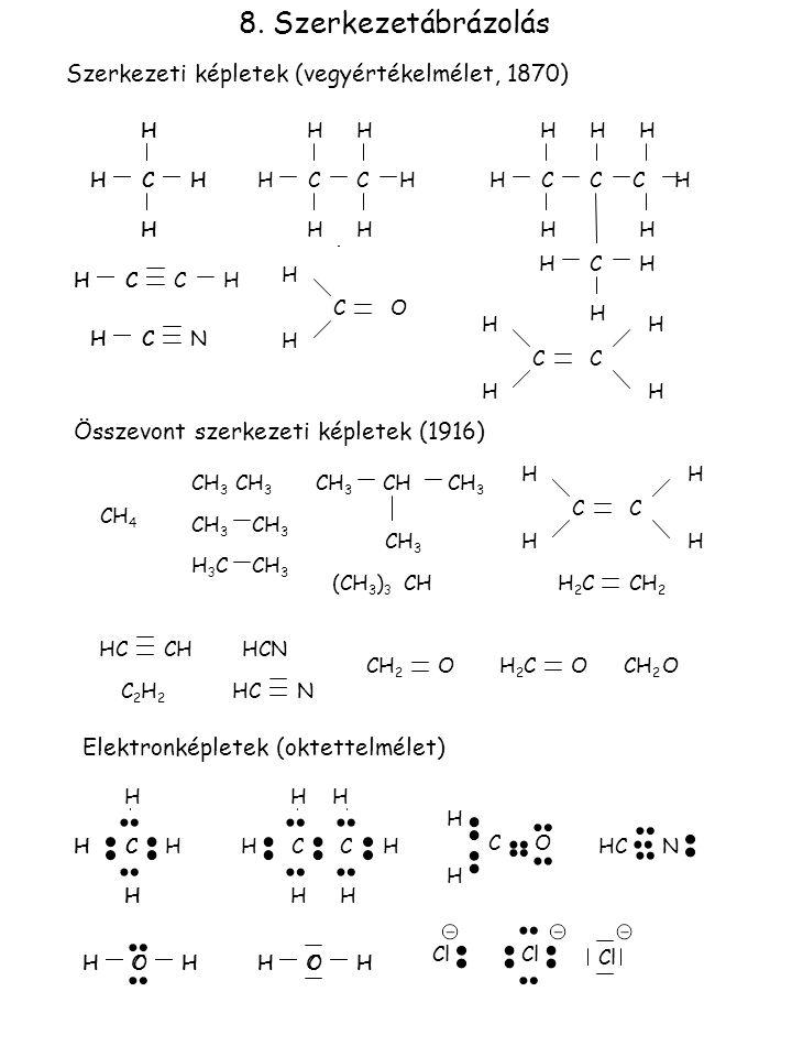 8. Szerkezetábrázolás Szerkezeti képletek (vegyértékelmélet, 1870)