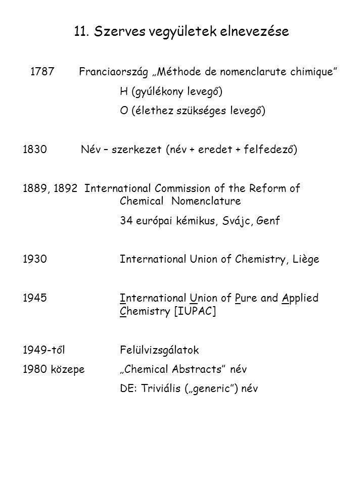 11. Szerves vegyületek elnevezése