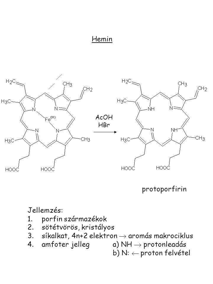 sötétvörös, kristályos síkalkat, 4n+2 elektron  aromás makrociklus