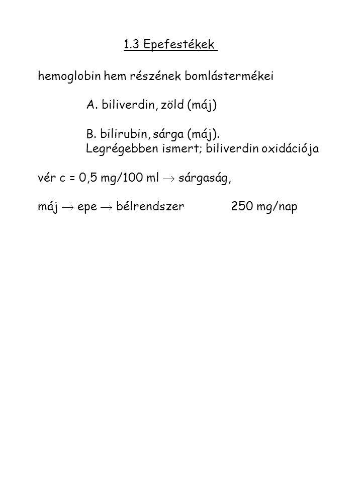 1.3 Epefestékek hemoglobin hem részének bomlástermékei. A. biliverdin, zöld (máj) B. bilirubin, sárga (máj).