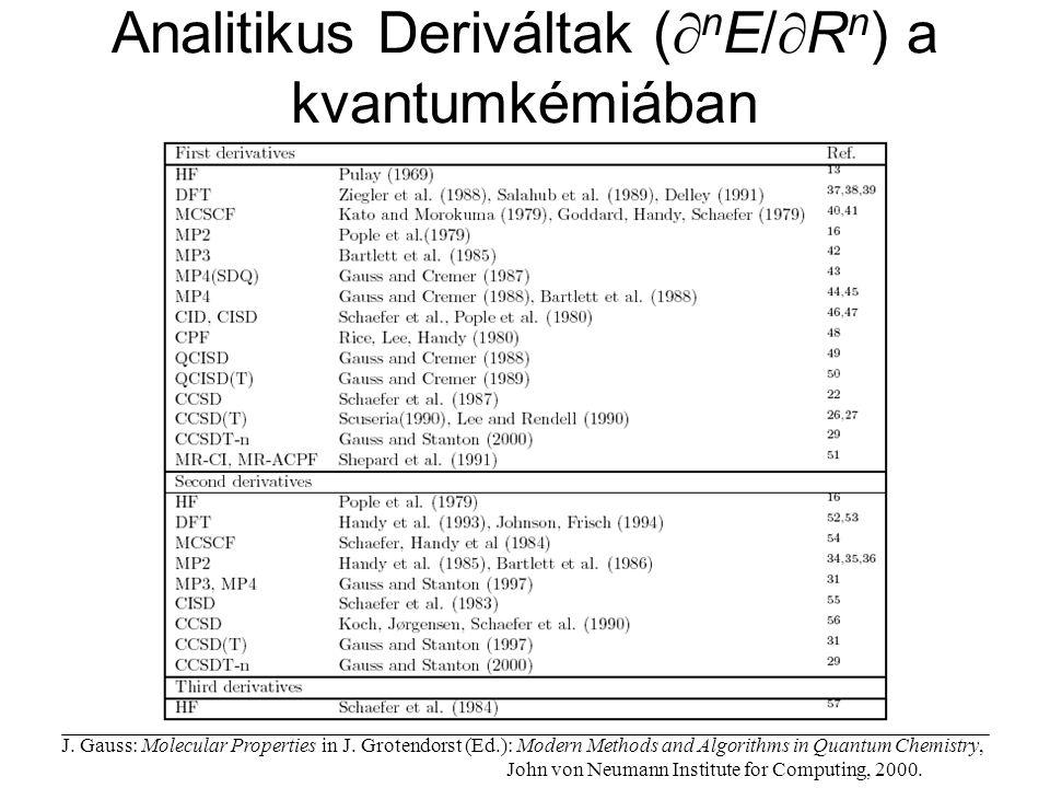 Analitikus Deriváltak (nE/Rn) a kvantumkémiában