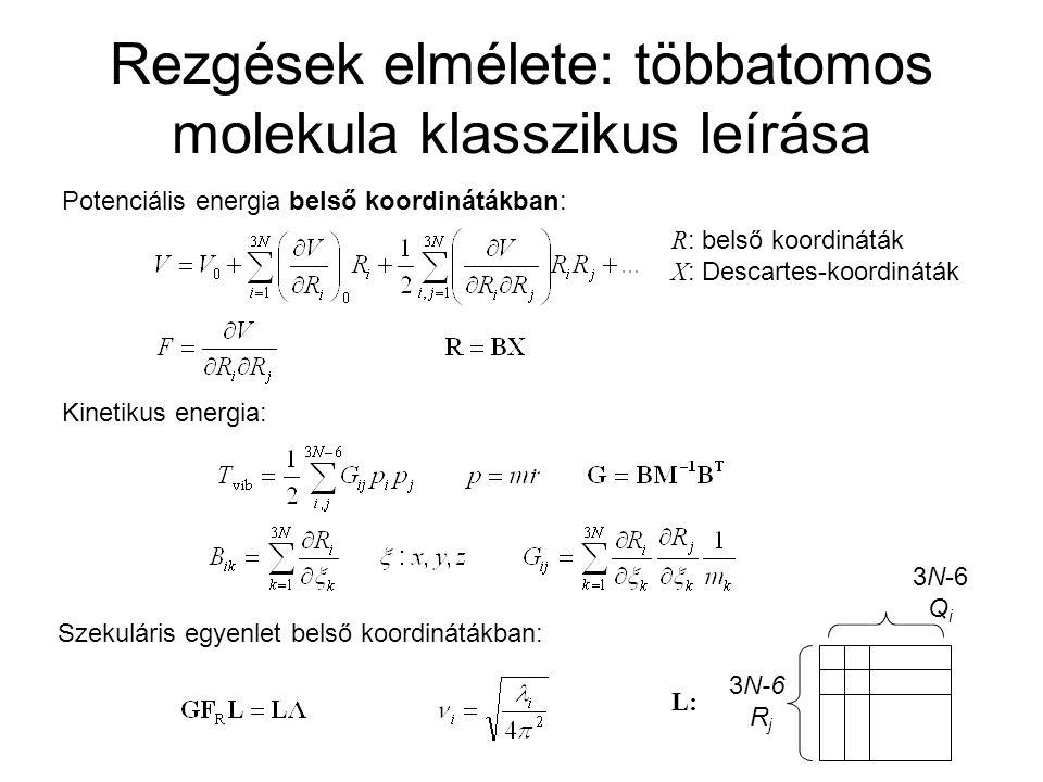 Rezgések elmélete: többatomos molekula klasszikus leírása
