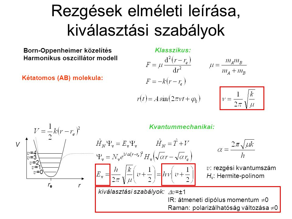 Rezgések elméleti leírása, kiválasztási szabályok