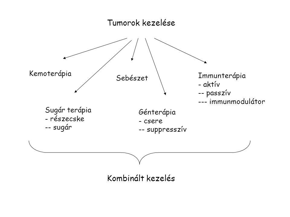 Tumorok kezelése Kombinált kezelés Kemoterápia Immunterápia Sebészet