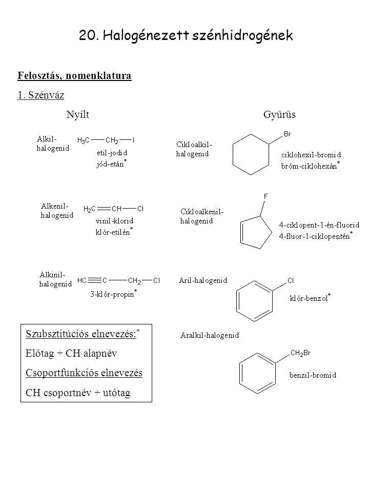 20. Halogénezett szénhidrogének