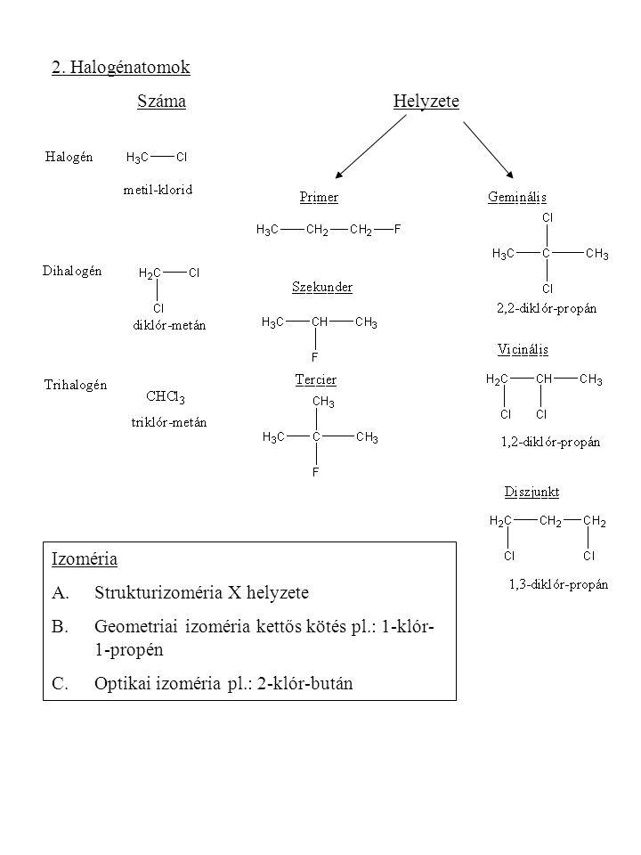 2. Halogénatomok Száma Helyzete. Izoméria. Strukturizoméria X helyzete. Geometriai izoméria kettős kötés pl.: 1-klór-1-propén.
