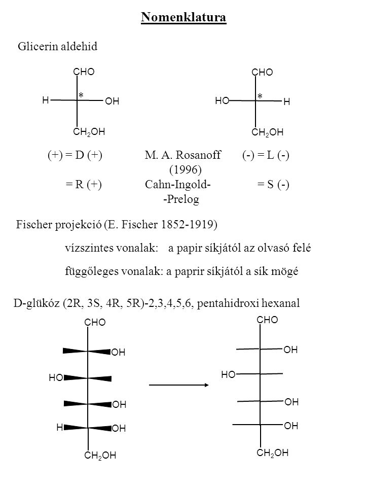 Nomenklatura Glicerin aldehid * *