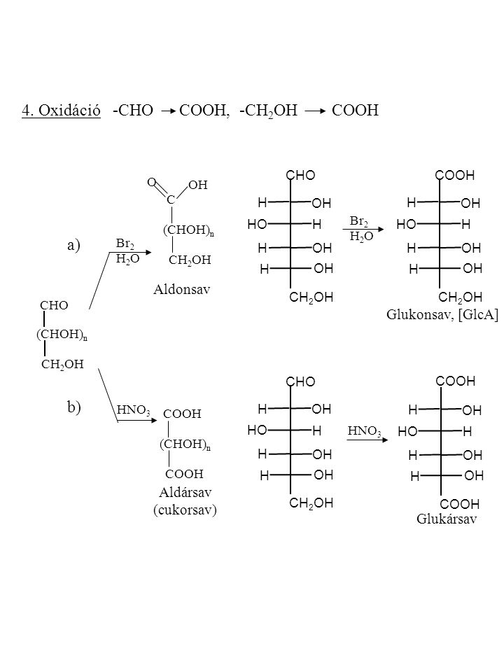 4. Oxidáció -CHO COOH, -CH2OH COOH