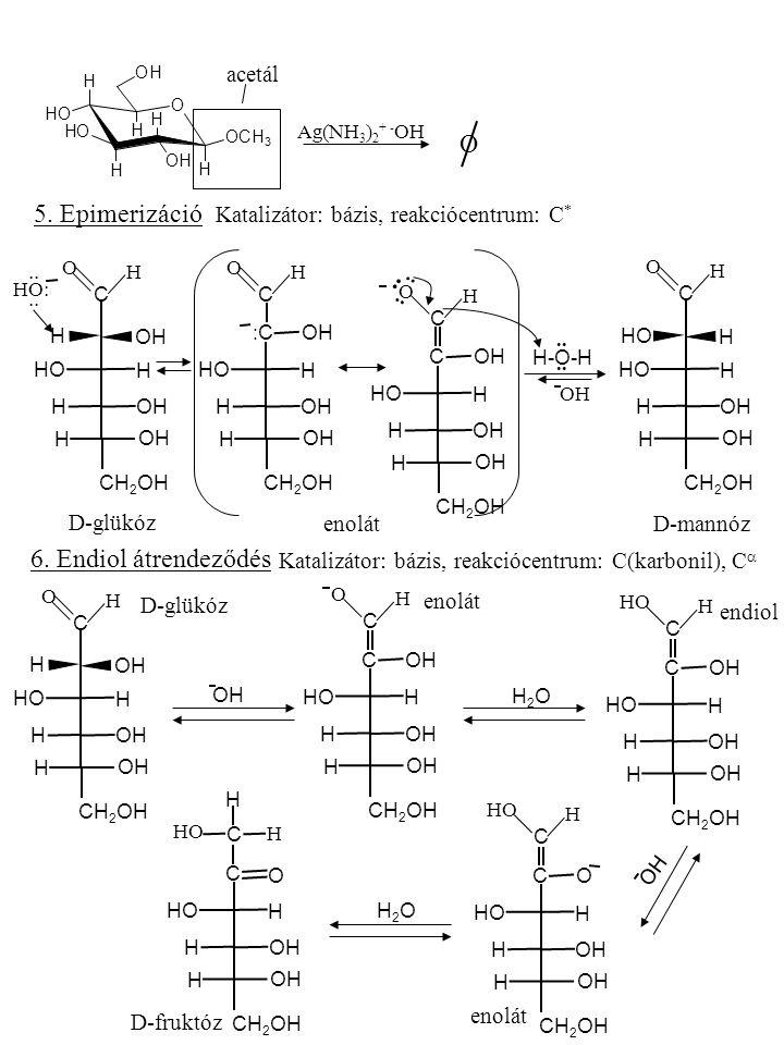 O 5. Epimerizáció 6. Endiol átrendeződés acetál