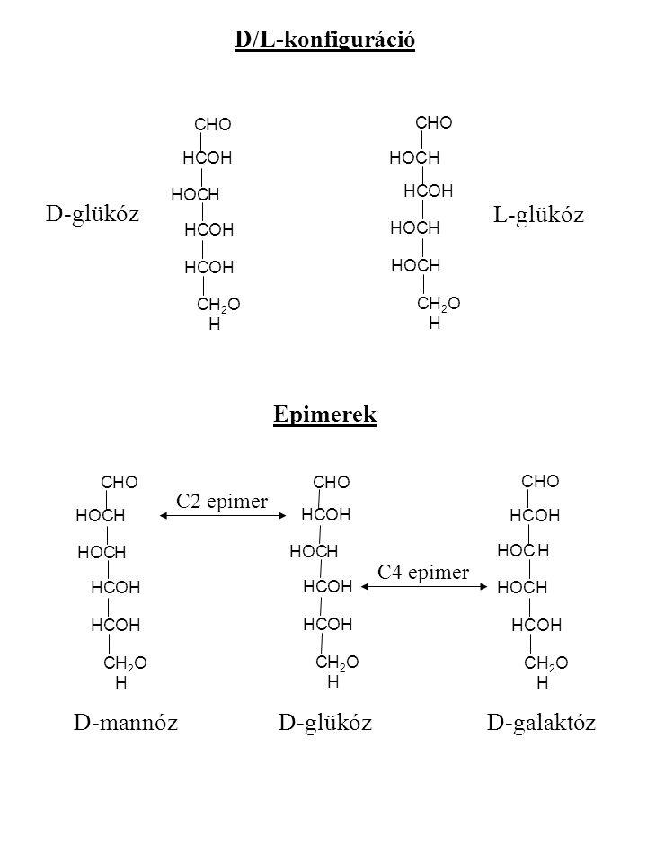 D/L-konfiguráció D-glükóz L-glükóz Epimerek D-mannóz D-glükóz