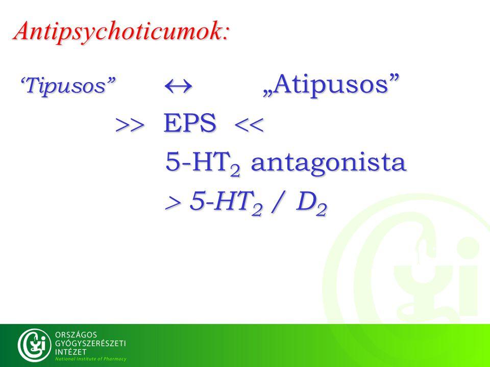Antipsychoticumok:  EPS  5-HT2 antagonista  5-HT2 / D2