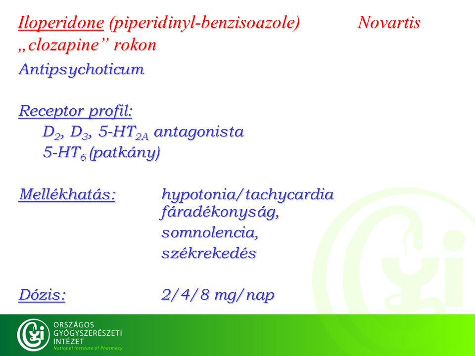 "Iloperidone (piperidinyl-benzisoazole) Novartis ""clozapine rokon"