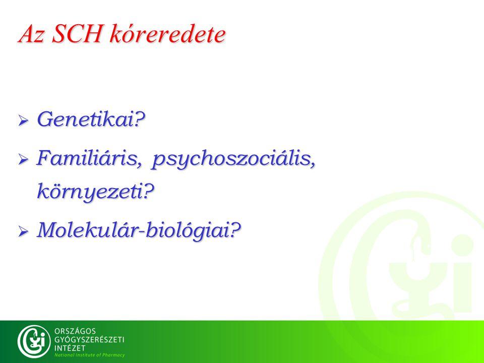 Az SCH kóreredete Genetikai Familiáris, psychoszociális, környezeti