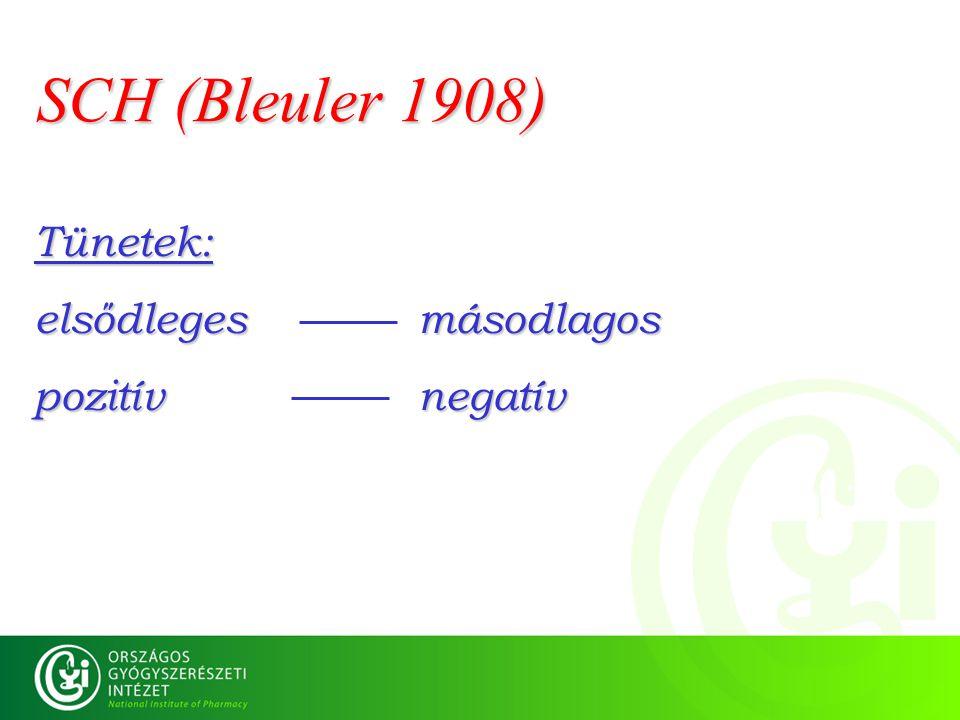 SCH (Bleuler 1908) Tünetek: elsődleges másodlagos pozitív negatív