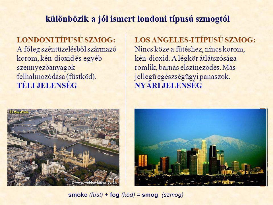 különbözik a jól ismert londoni típusú szmogtól
