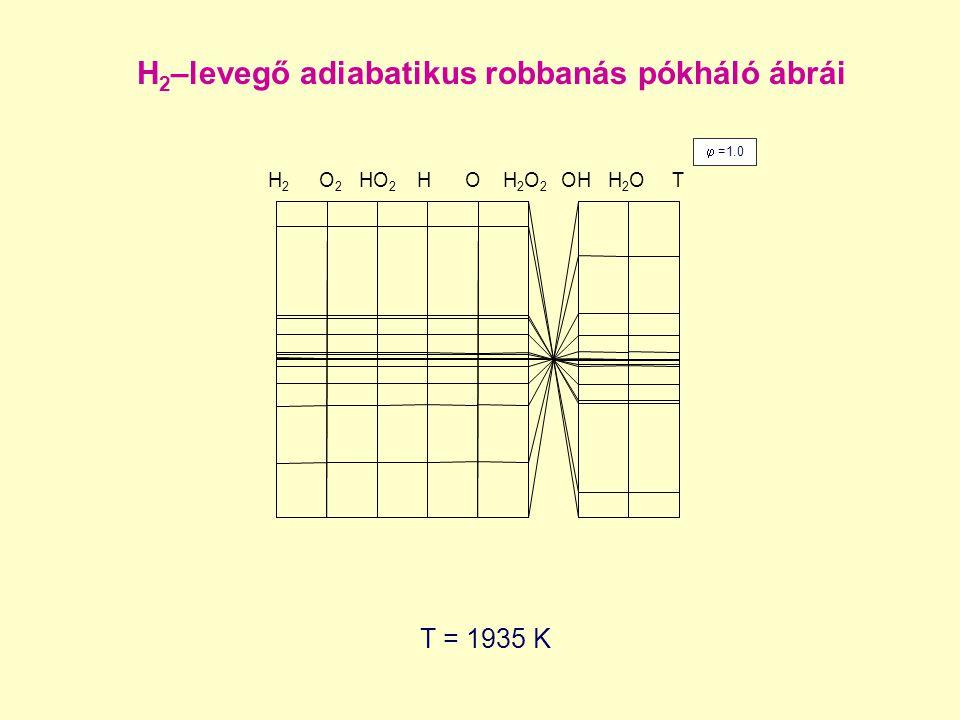 H2–levegő adiabatikus robbanás pókháló ábrái