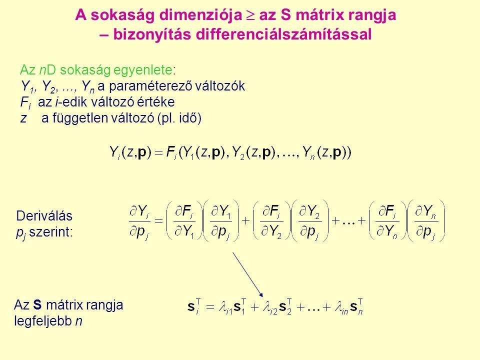 A sokaság dimenziója  az S mátrix rangja