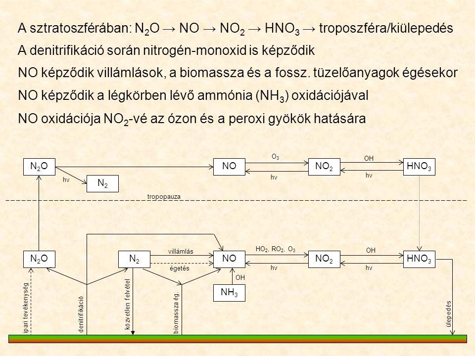A sztratoszférában: N2O → NO → NO2 → HNO3 → troposzféra/kiülepedés
