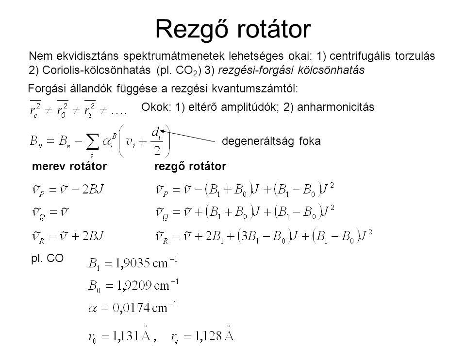 Rezgő rotátor Nem ekvidisztáns spektrumátmenetek lehetséges okai: 1) centrifugális torzulás.