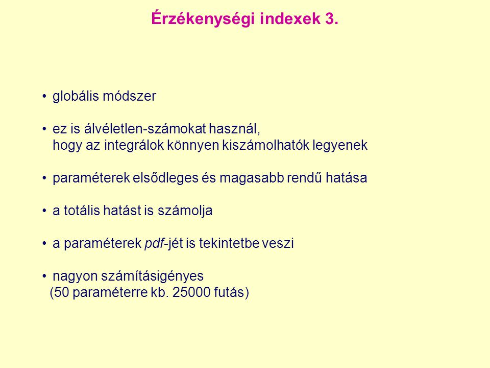 Érzékenységi indexek 3. globális módszer