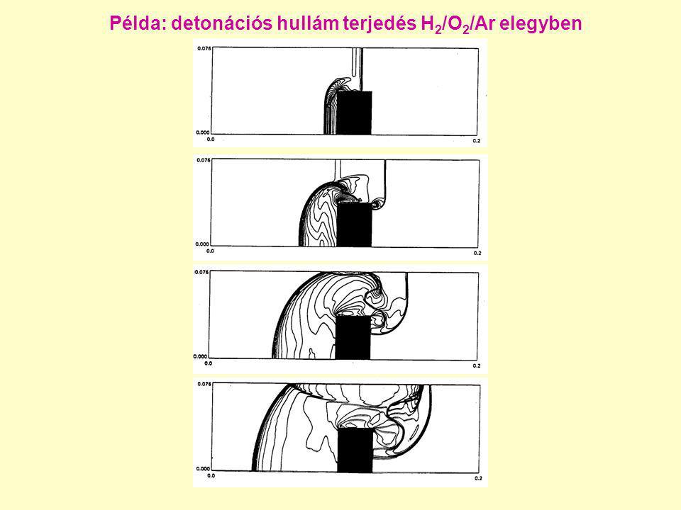 Példa: detonációs hullám terjedés H2/O2/Ar elegyben