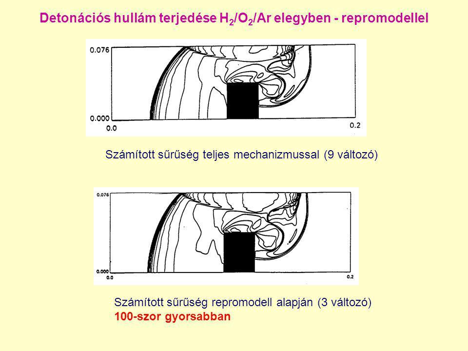 Detonációs hullám terjedése H2/O2/Ar elegyben - repromodellel