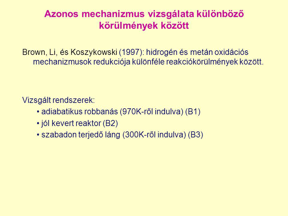 Azonos mechanizmus vizsgálata különböző körülmények között