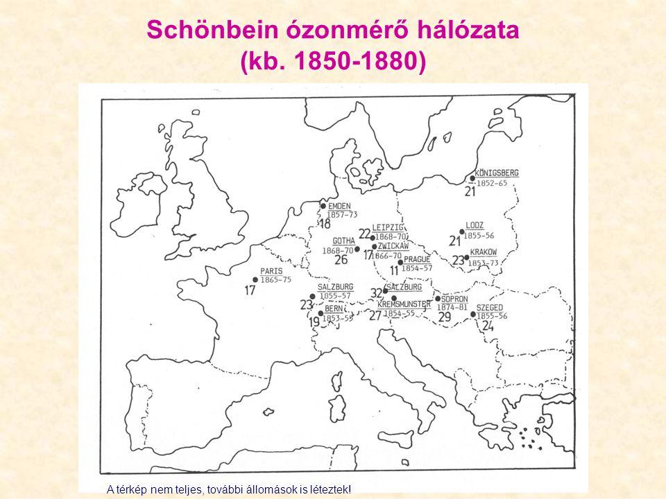 Schönbein ózonmérő hálózata (kb. 1850-1880)