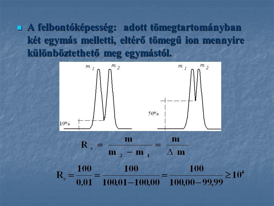 A felbontóképesség: adott tömegtartományban két egymás melletti, eltérő tömegű ion mennyire különböztethető meg egymástól.