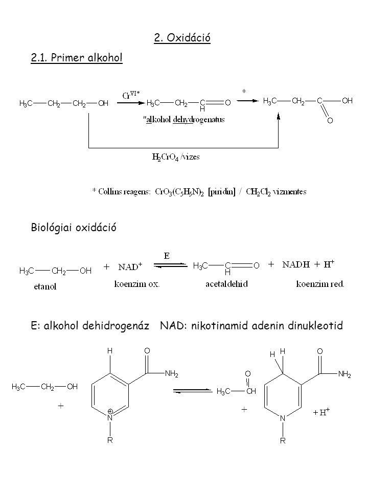 2. Oxidáció 2.1. Primer alkohol. Biológiai oxidáció. E: alkohol dehidrogenáz NAD: nikotinamid adenin dinukleotid.