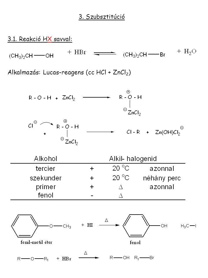 3. Szubsztitúció 3.1. Reakció HX savval: Alkalmazás: Lucas-reagens (cc HCl + ZnCl2)
