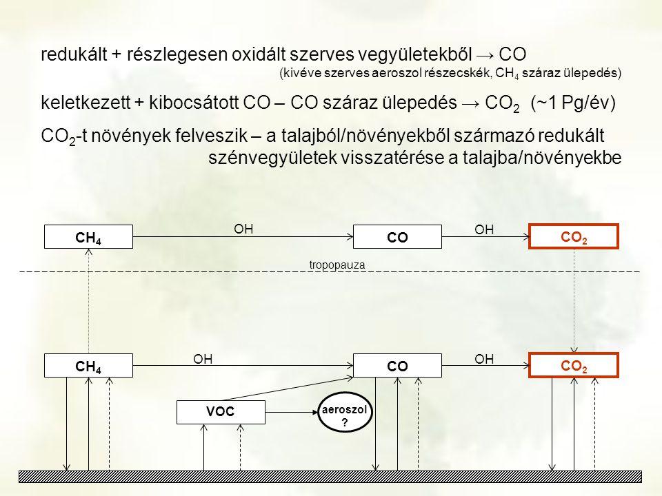 redukált + részlegesen oxidált szerves vegyületekből → CO