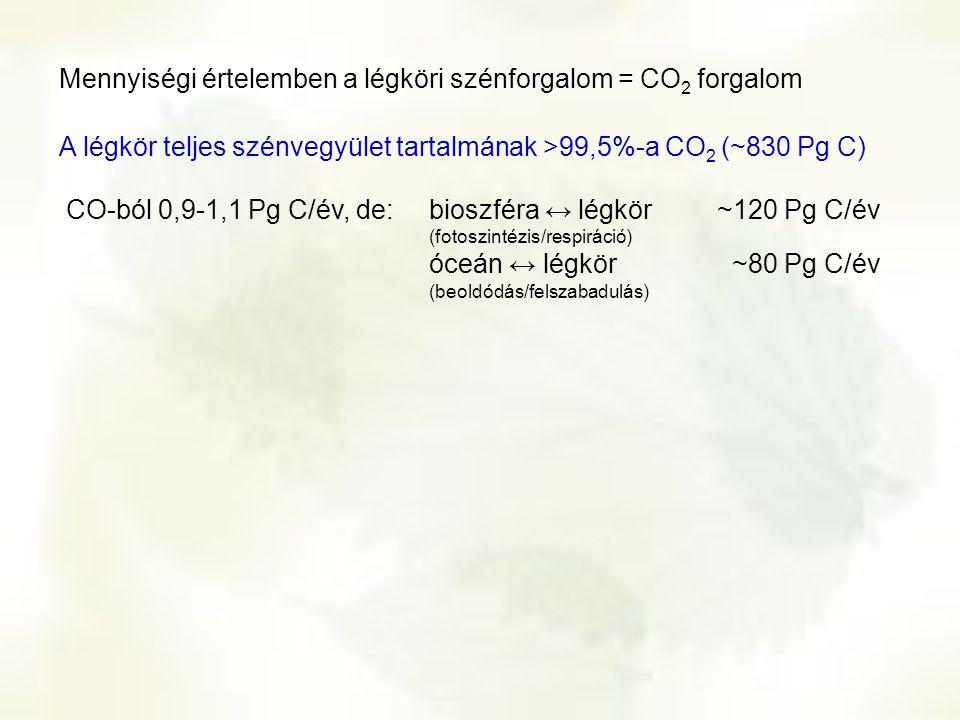 Mennyiségi értelemben a légköri szénforgalom = CO2 forgalom