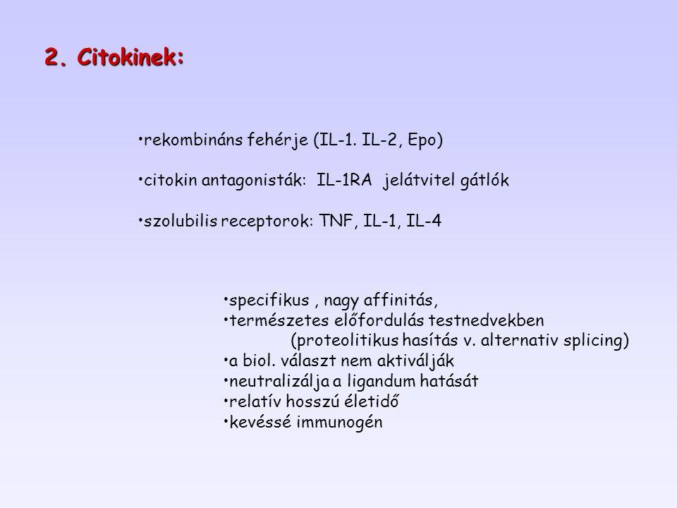 2. Citokinek: rekombináns fehérje (IL-1. IL-2, Epo)