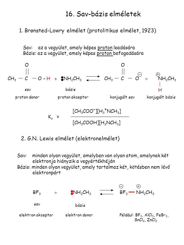 16. Sav-bázis elméletek 1. Brønsted-Lowry elmélet (protolitikus elmélet, 1923) Sav: az a vegyület, amely képes proton leadására.