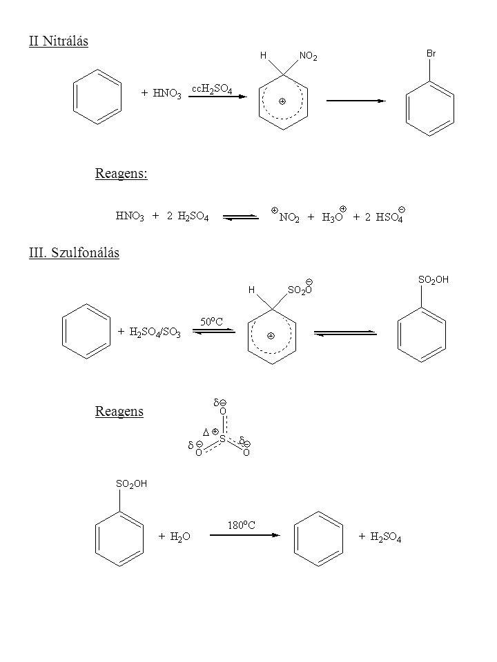 II Nitrálás Reagens: III. Szulfonálás Reagens